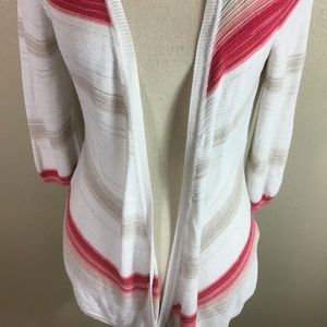 White House Black Market Sweaters - White House Black Market White And Pink Cardigan
